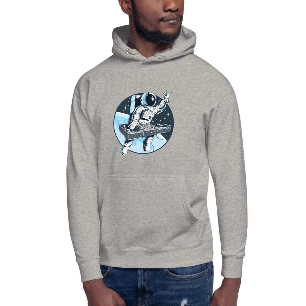 Man wears Light grey hoodie with front pouch pocket and astronaut djing on cdjs front print
