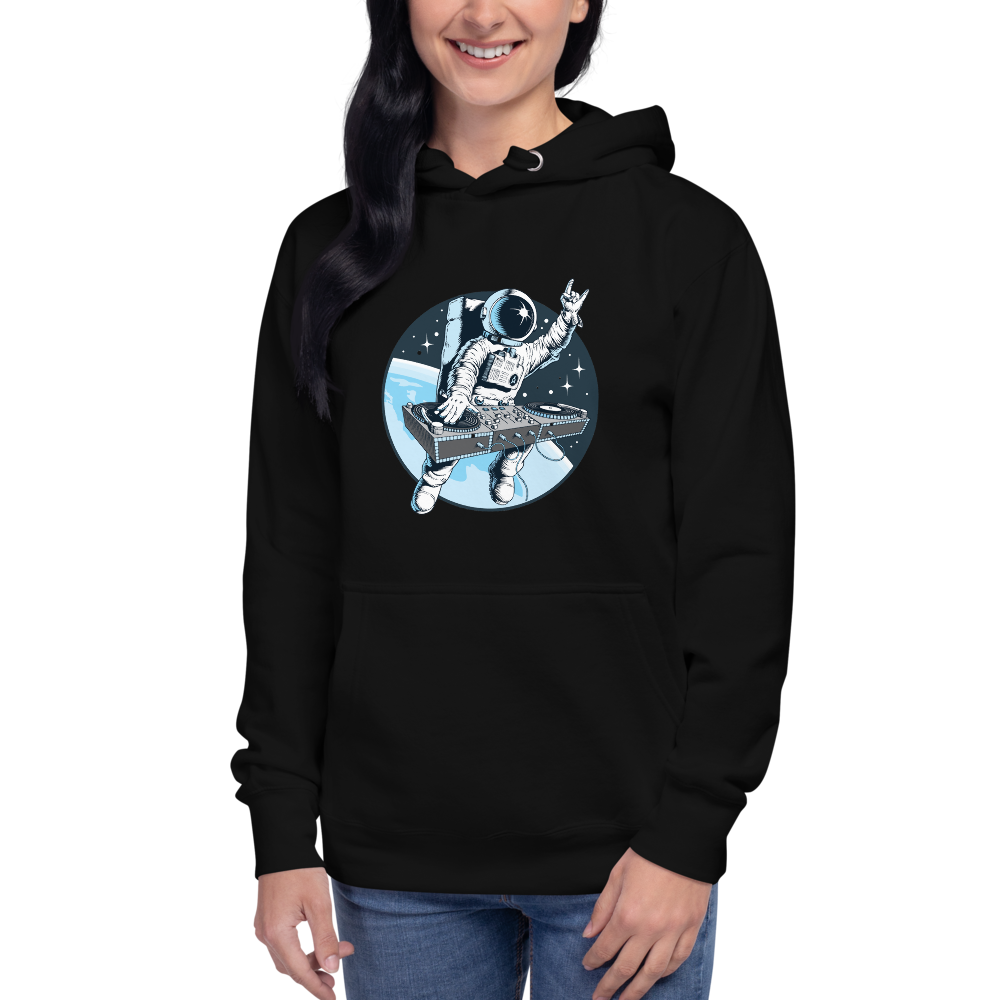 Girl wears black hoodie with front pouch pocket and astronaut djing on cdjs front print