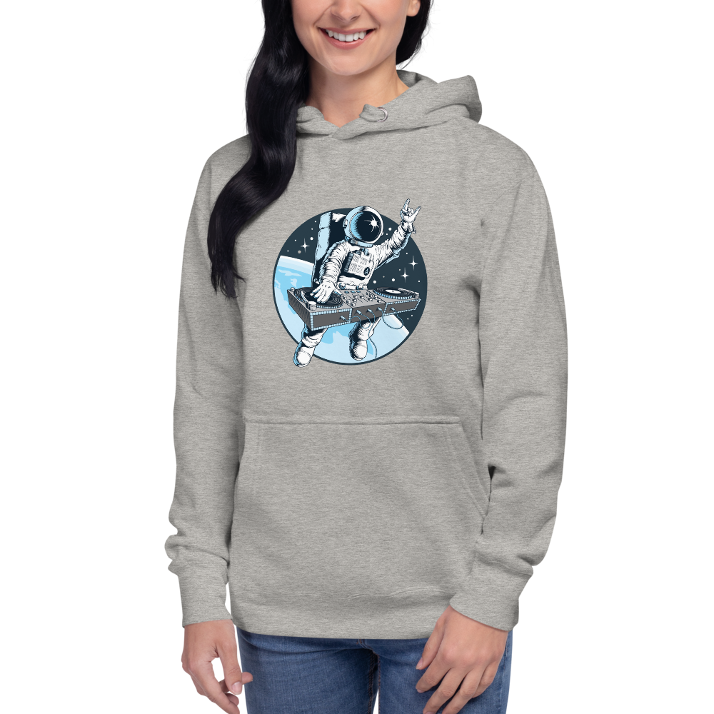 Model wears light grey hoodie with front pouch pocket and astronaut djing on cdjs front print