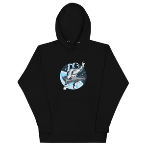 Black hoodie with front pouch pocket and astronaut djing on cdjs front print