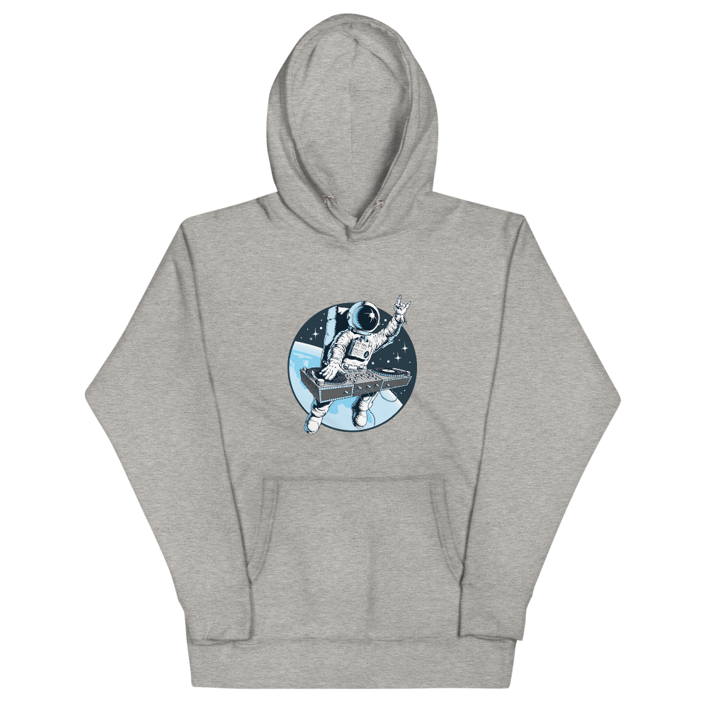 Light grey hoodie with front pouch pocket and astronaut djing on cdjs front print