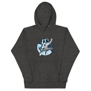 Grey heather hoodie with front pouch pocket and astronaut djing on cdjs