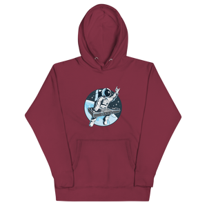 Marron hoodie with front pouch pocket and astronaut djing on cdjs