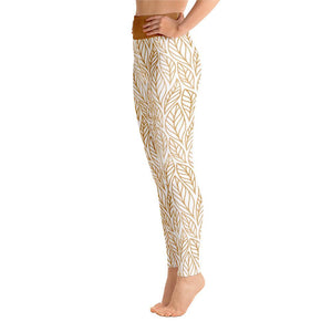 Side view  High Waist White Fall leaves print yoga leggings
