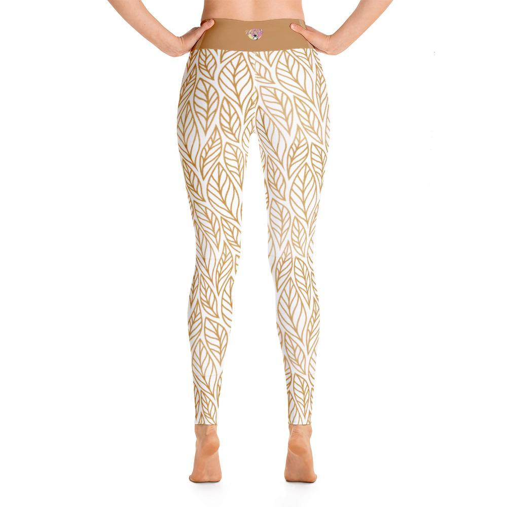 Back view High Waist White Fall leaves print yoga leggings