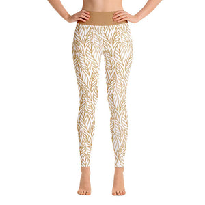 Front view High Waist White Fall leaves print yoga leggings