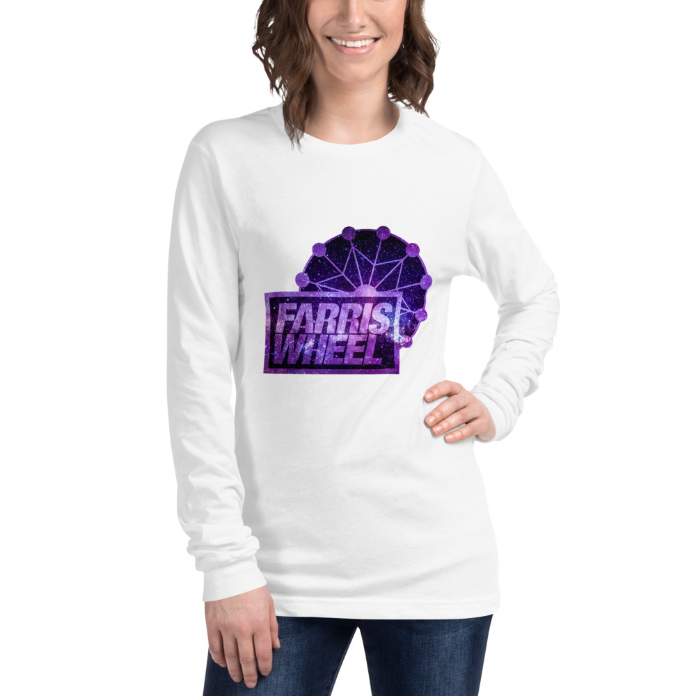 Woman  wears white long sleeve t-shirt with Farris Wheel Recordings logo Star Wars theme