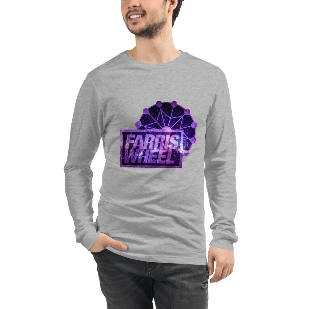 Man wears athletic heather  long sleeve t-shirt with Farris Wheel Recordings logo Star Wars theme