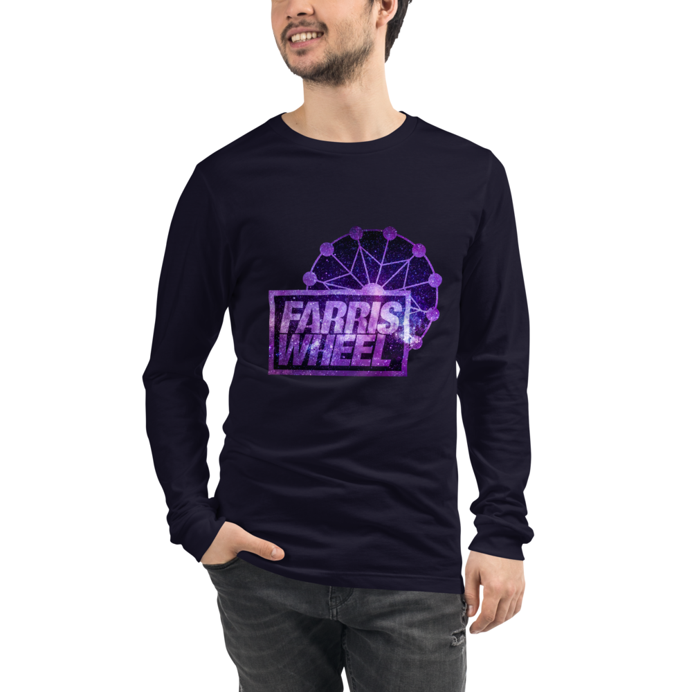 Man wears navy long sleeve t-shirt with Farris Wheel Recordings logo Star Wars theme