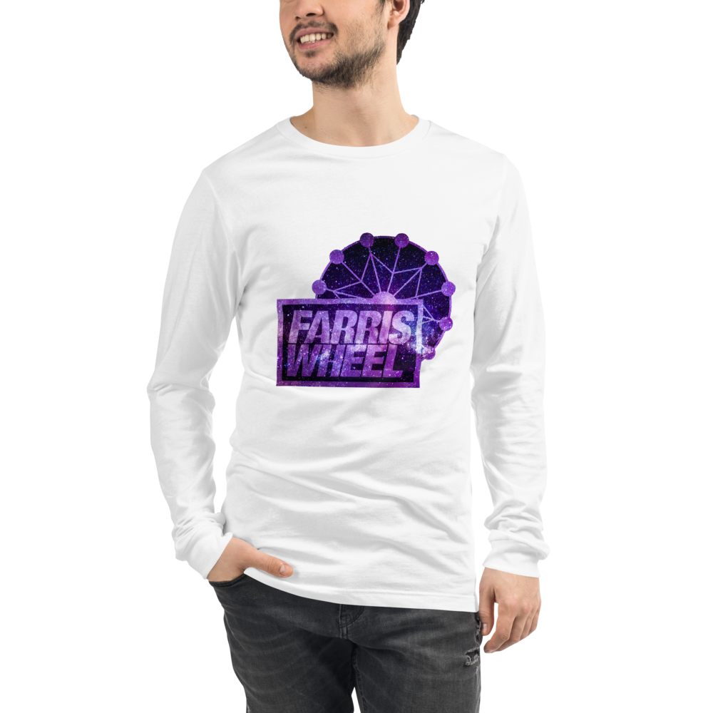 Man wears white long sleeve t-shirt with Farris Wheel Recordings logo Star Wars theme