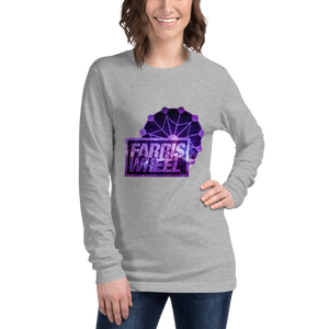 Woman wears athletic heather  long sleeve t-shirt with Farris Wheel Recordings logo Star Wars theme