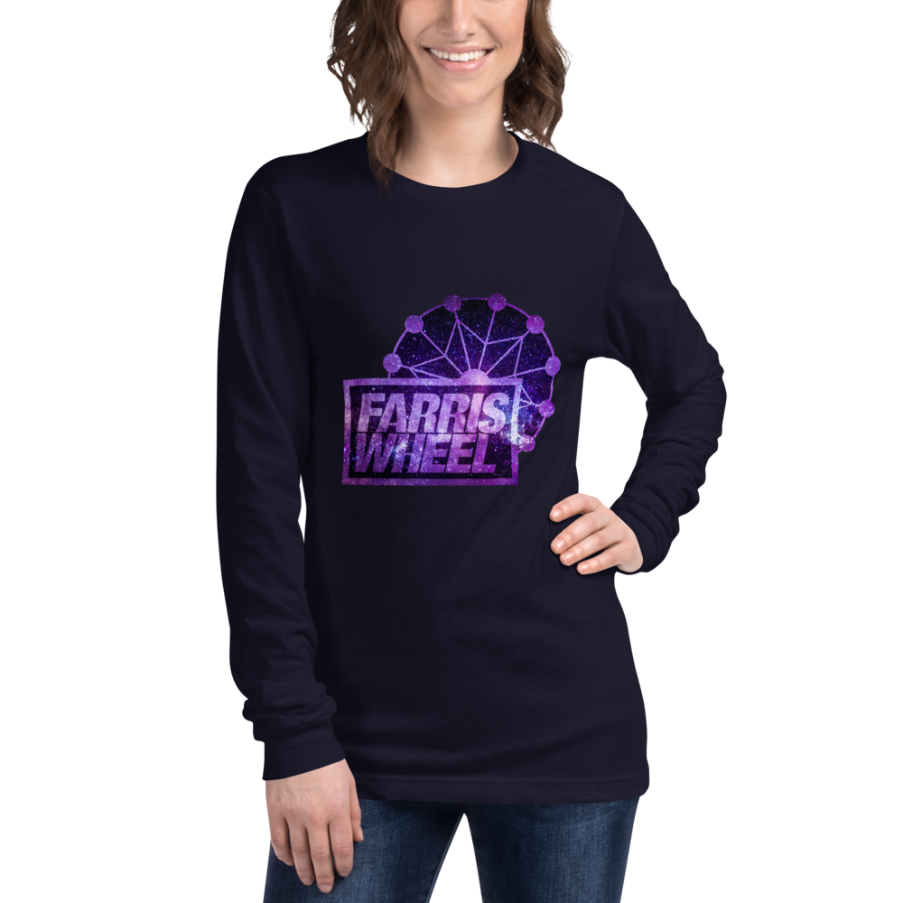 Woman wears navy long sleeve t-shirt with Farris Wheel Recordings logo Star Wars theme