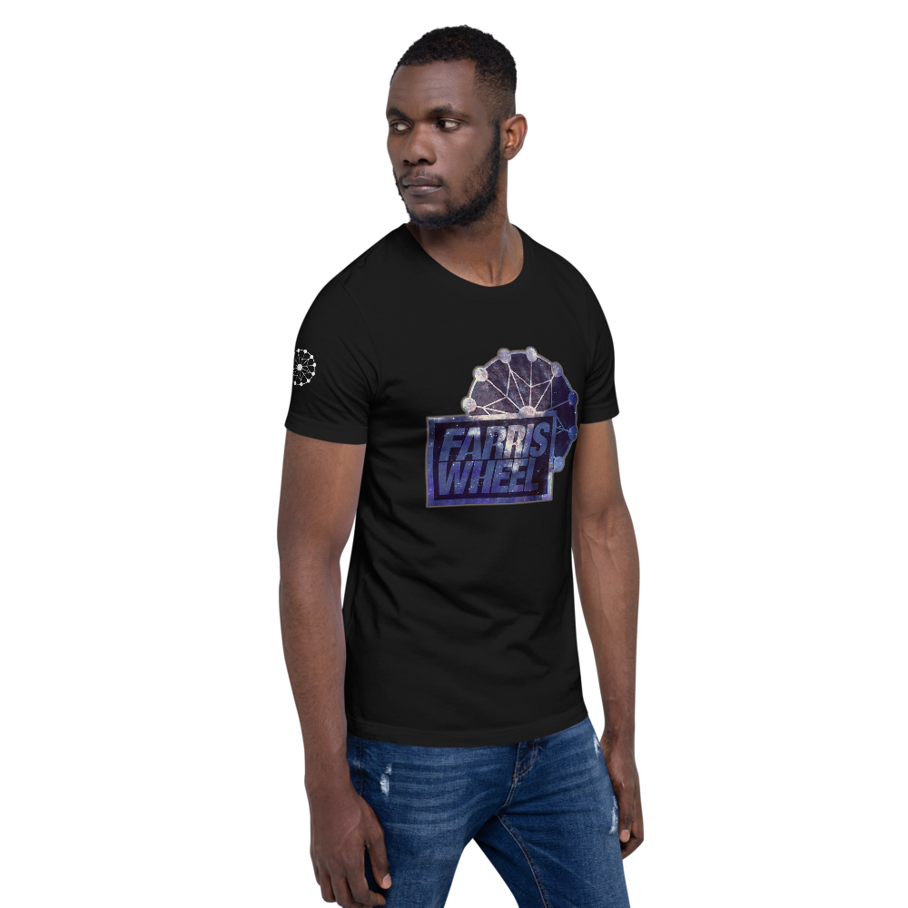 Model shows side sleeve  and front of black  Farris Wheel Star wars t-shirt