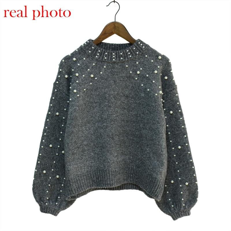 Women Bead Lantern Sleeve Knitted Sweater Pullover