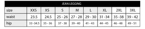 size chart for women's leggings in inches