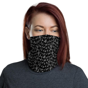 Music Notes Neck Gaiter Black