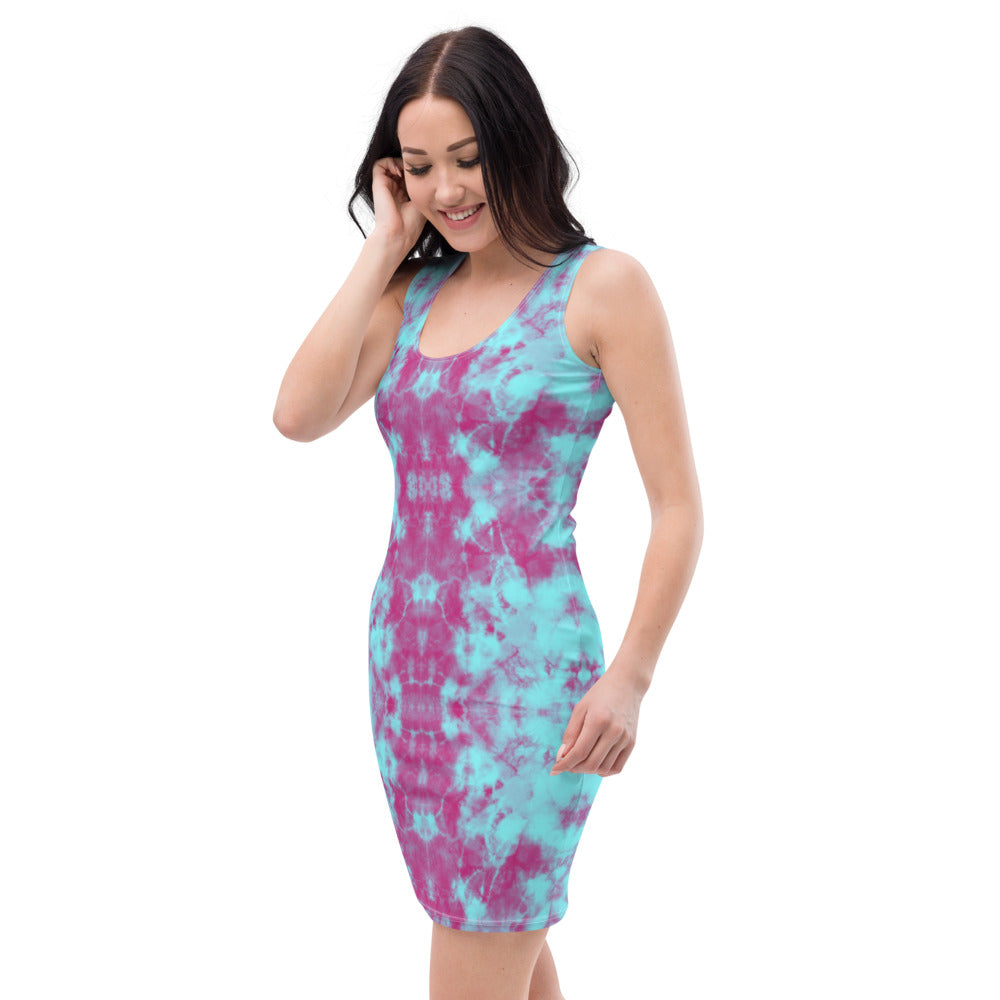 Be Extra! Blue Tie-Dye Elegant Bodycon Dress