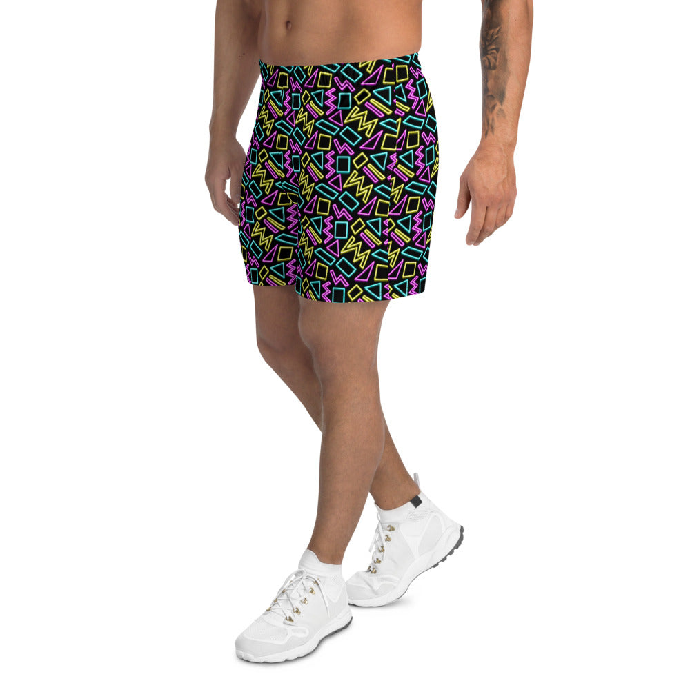 Neon Pattern Men's Athletic Long Shorts