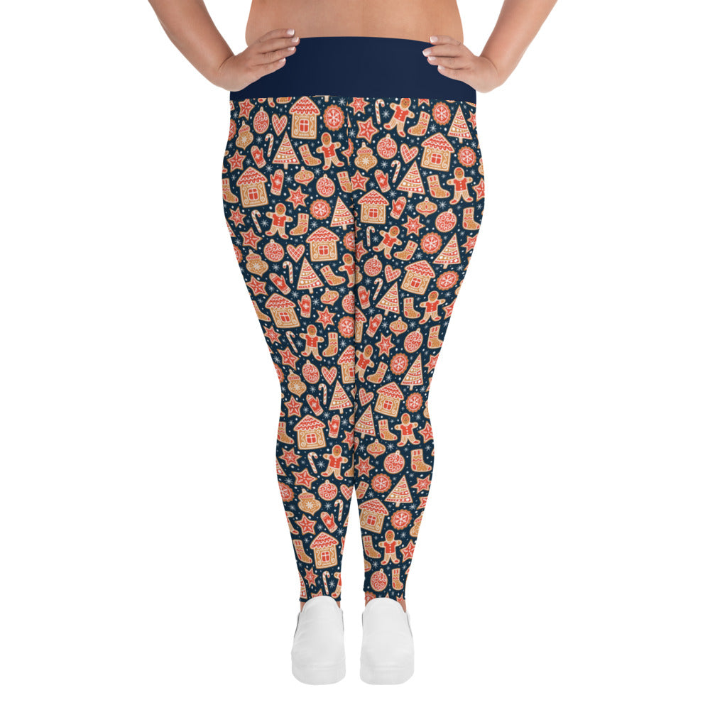 Gingerbread Cookies Holiday High Waist All-Over Print Plus Size Leggings