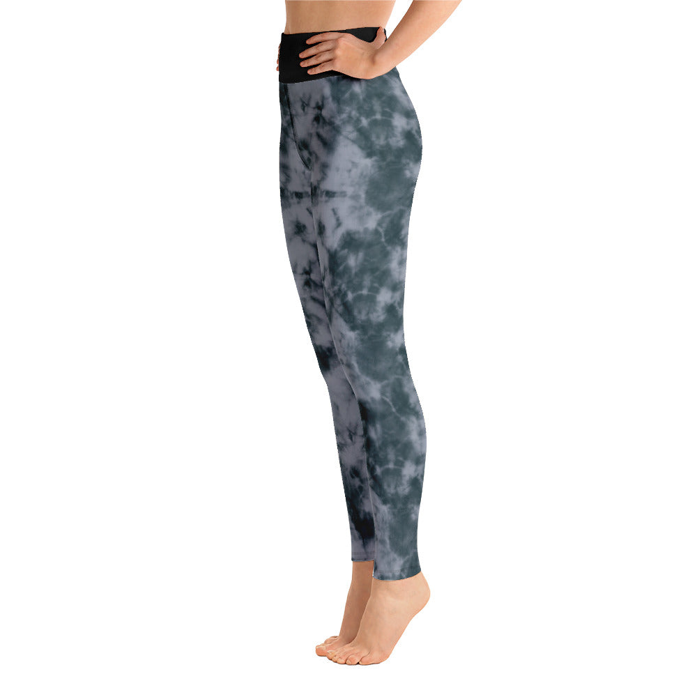 tie dye high waist anti-cellulite leggings grey  side