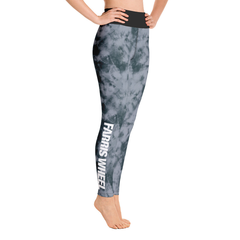 tie dye high waist anti-cellulite leggings grey  Farris Wheel