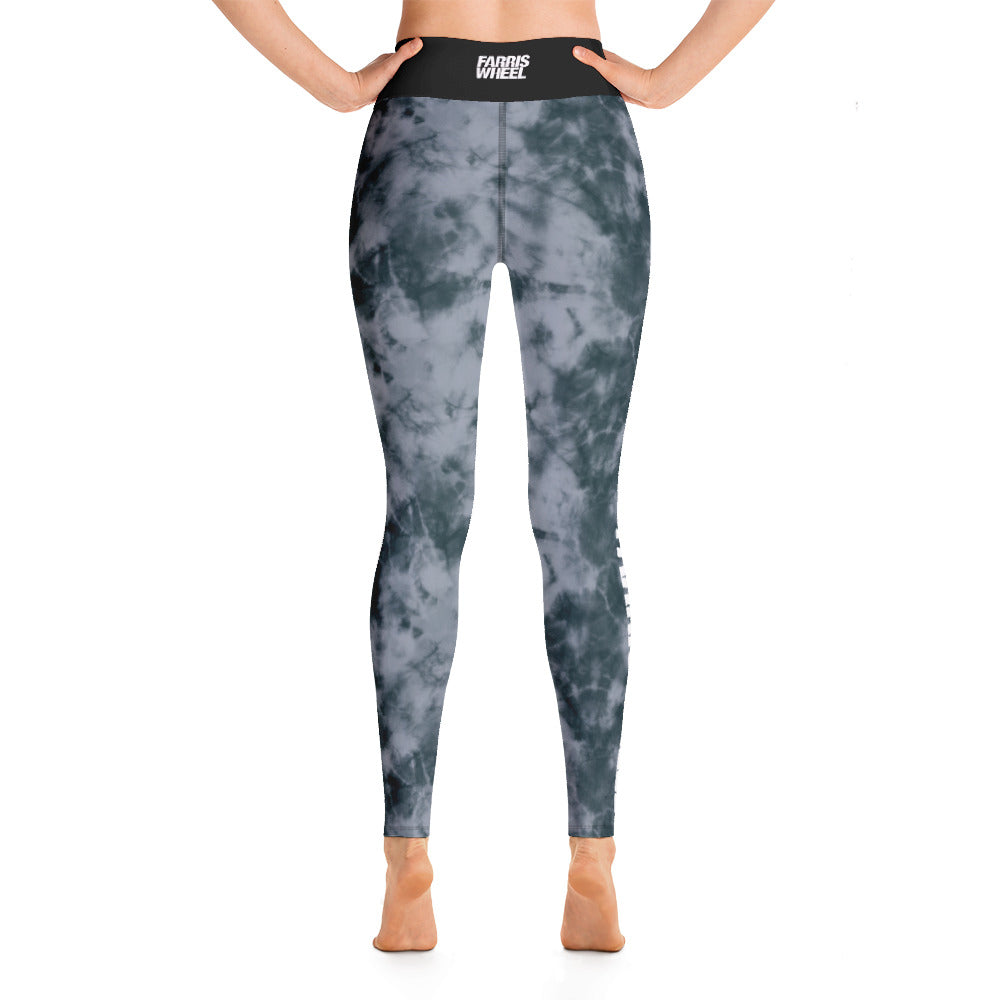 tie dye high waist anti-cellulite leggings grey  farris wheel back