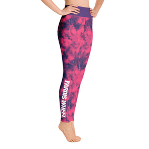 tie dye high waist anti-cellulite yoga leggings pink and purple  Farris Wheel   side