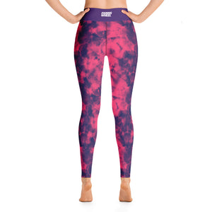 tie dye high waist anti-cellulite yoga leggings pink and purple  Farris Wheel   back