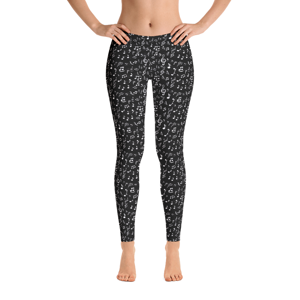 Music Notes Leggings Black - BeExtra! Apparel & More