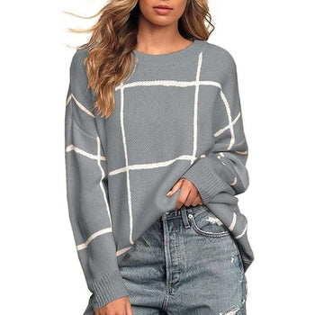 Plaid Long Sleeve Pullover Sweater