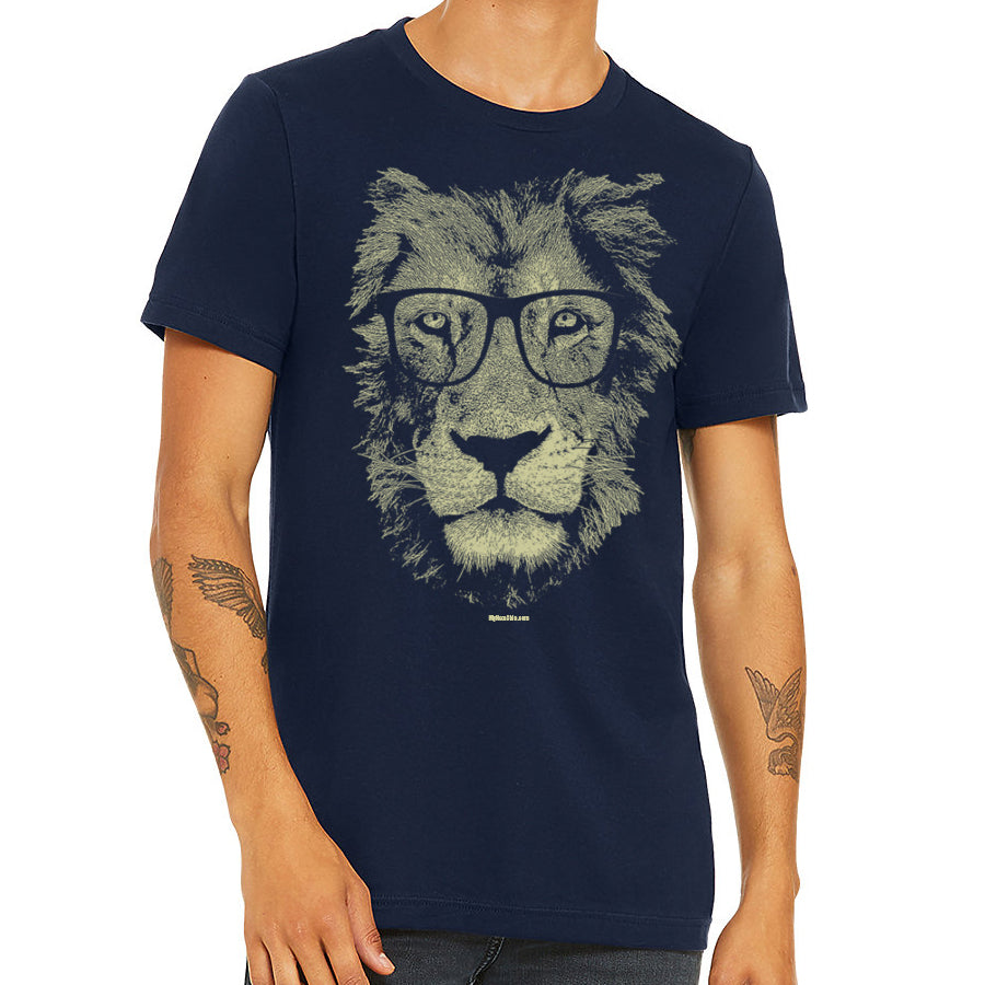 Man wearing black t-shirt with lion wearing glasses print