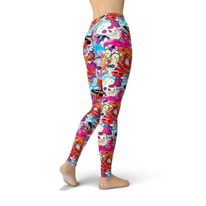 Back view of Model wears bright colorful leggings with skull abstract print