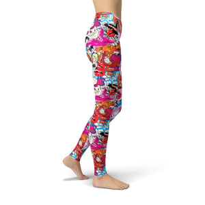 Side  view of Model wears bright colorful leggings with skull abstract print