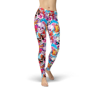 Model wears bright colorful leggings with skull abstract print