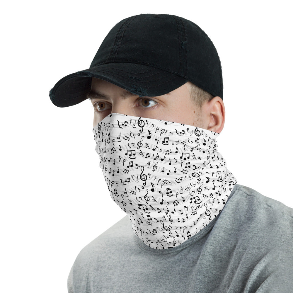 Music Notes Neck Gaiter White - BeExtra! Apparel & More