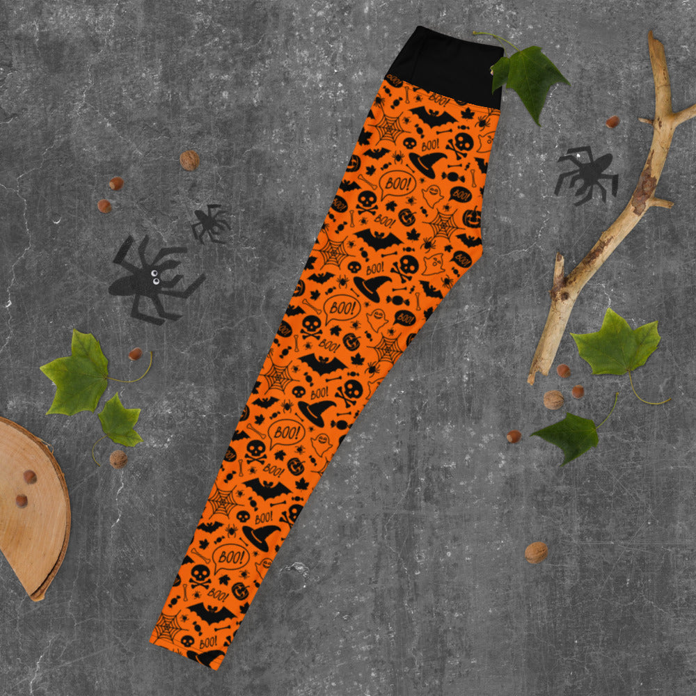 Orange Halloween Yoga Leggings
