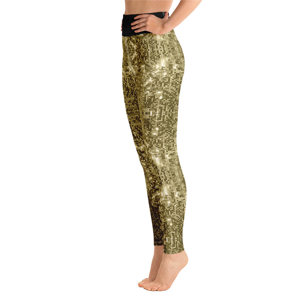 High Waist Leggings with Sequin Gold Print