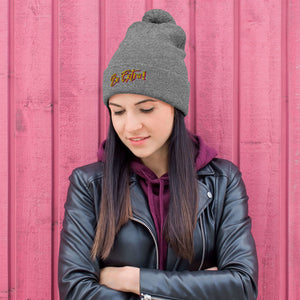 Pom-Pom grey Beanie , festival wear, bright hat