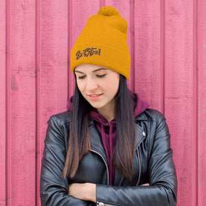 Pom-Pom orange Beanie , festival wear, bright hat