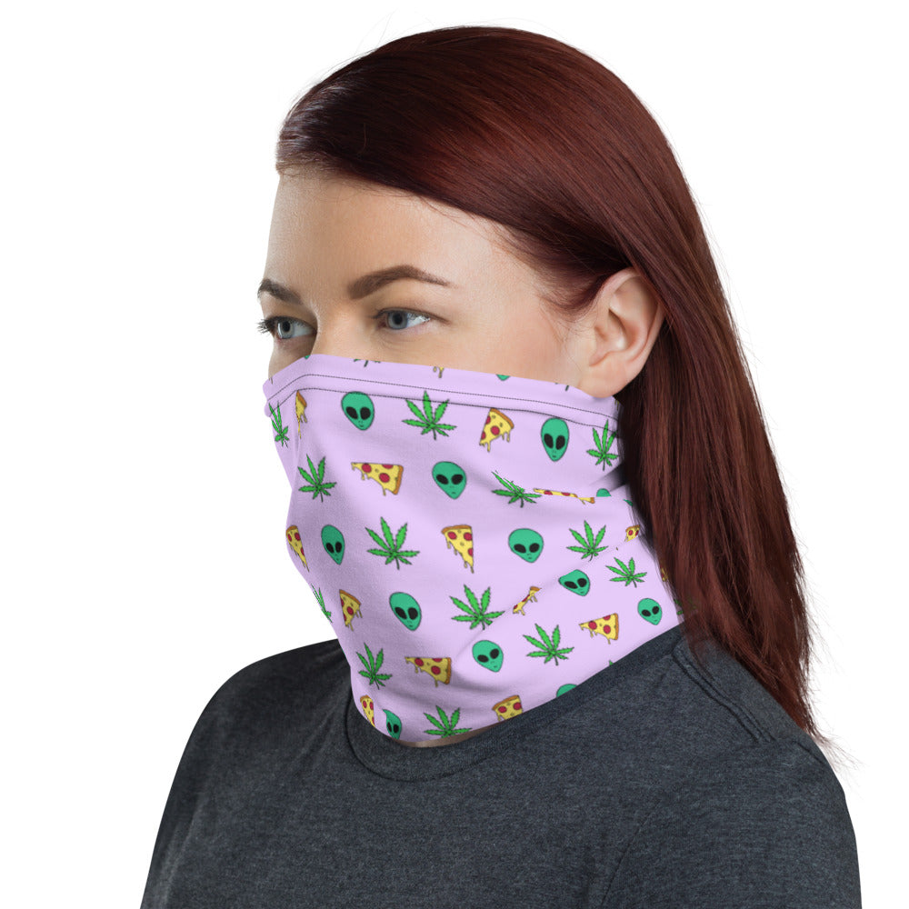 Pizza & Aliens Neck Gaiter/ Face Cover