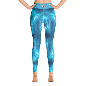 High Waist  Blue Waives Yoga Leggings