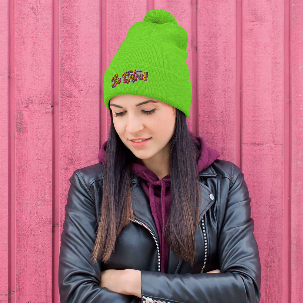 Pom-Pom neon green Beanie , festival wear, bright hat