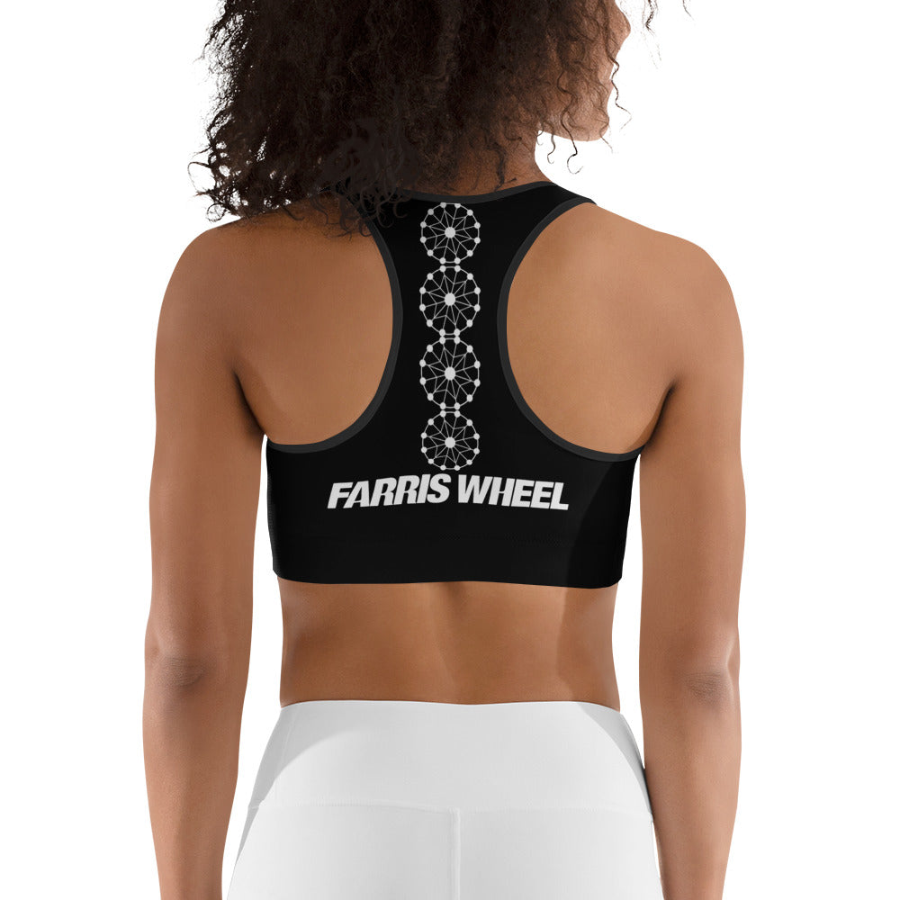 Farris Wheel Black Sports Bra - BeExtra! Apparel & More