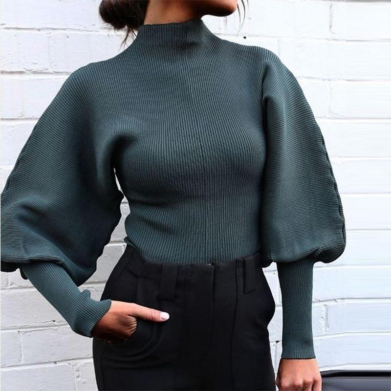 Knitted High Collar  Sweater with Loose Sleeves