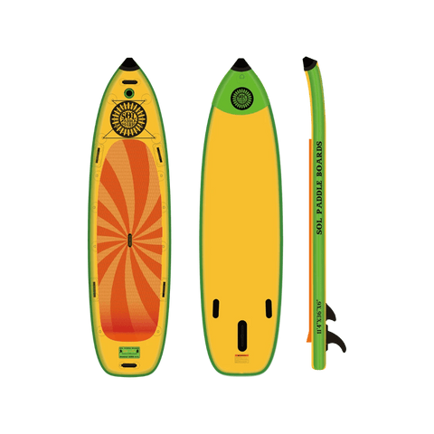 SOL Paddle Boards SOLsumo Inflatable Paddle Board - Classic top, bottom, side view