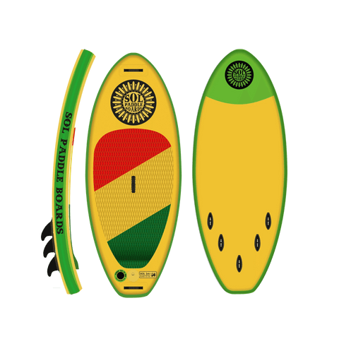 SOL Paddle Boards Soljah Inflatable Paddle Board - Classic top, bottom, side, view