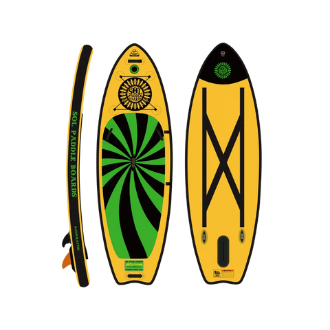 SOLshine Inflatable Paddle Board - Carbon GalaXy top, bottom, side view