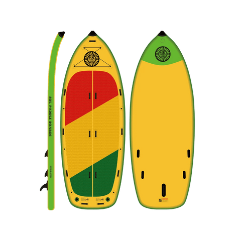 SOL Paddle Boards SOLfiesta Inflatable Paddle Board - Classic TOP, BOTTOM, SIDE VIEW