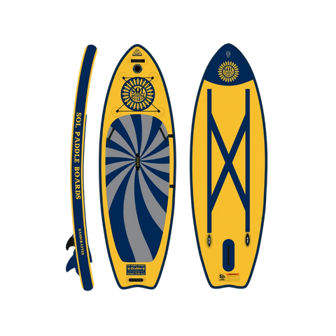 SOL Paddle Boards SOLshine Galaxy iSUP top, bottom, side view