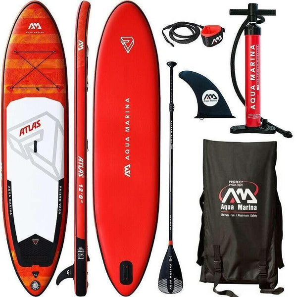 An image of the Aqua Marina Atlas paddleboard and all of it's accessories.